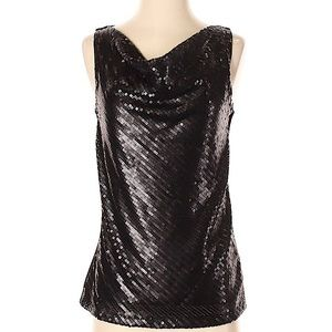 Stunning Talbots Black Sequin Top with Cowl Neck